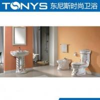 三件套间彩金 豪华马桶 柱盆 妇洗器 出口C3007D-1 B-1 F-1