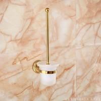 **  欧式全铜镀金卫浴挂件 奢华土豪金卫生间壁挂式马桶杯架  浴室柜墙壁入墙式马桶刷架 梦尔飞卫浴