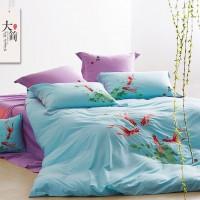 礼品简约中国风纯棉刺绣四件套印染床上用品四件套